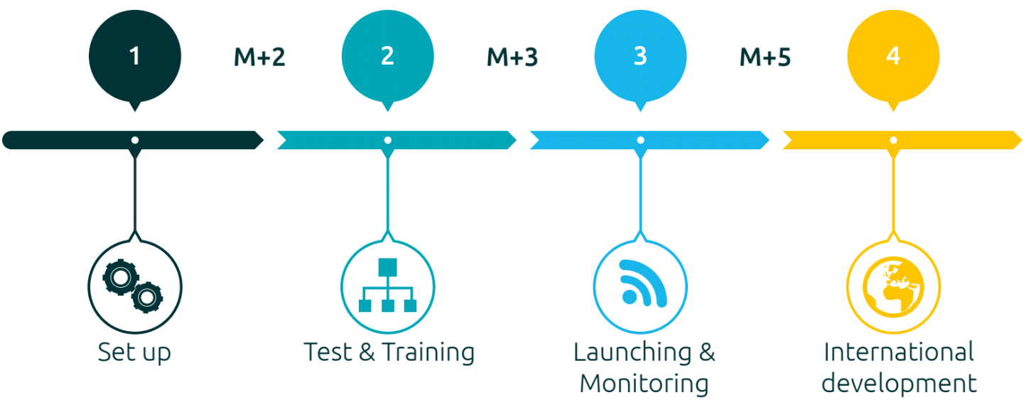 Set up, test & training, launching & monitoring, international development.