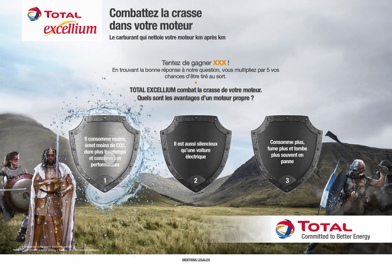 Example of a landing page for Total