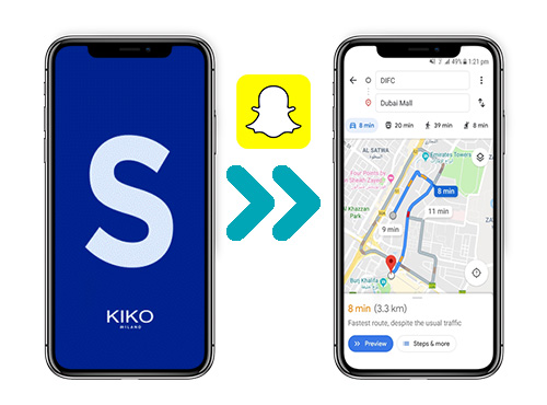 Image referring to the map that geo-localizes a Kiko store via the Snapchat application