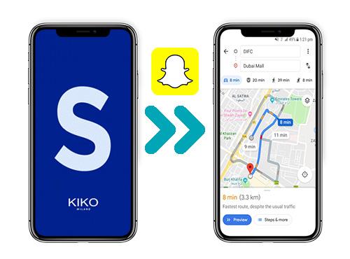 Immagine riferita alla mappa che geolocalizza un negozio Kiko tramite l'applicazione Snapchat